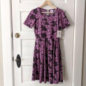 NWT Lularo purple black floral Amelia dress medium